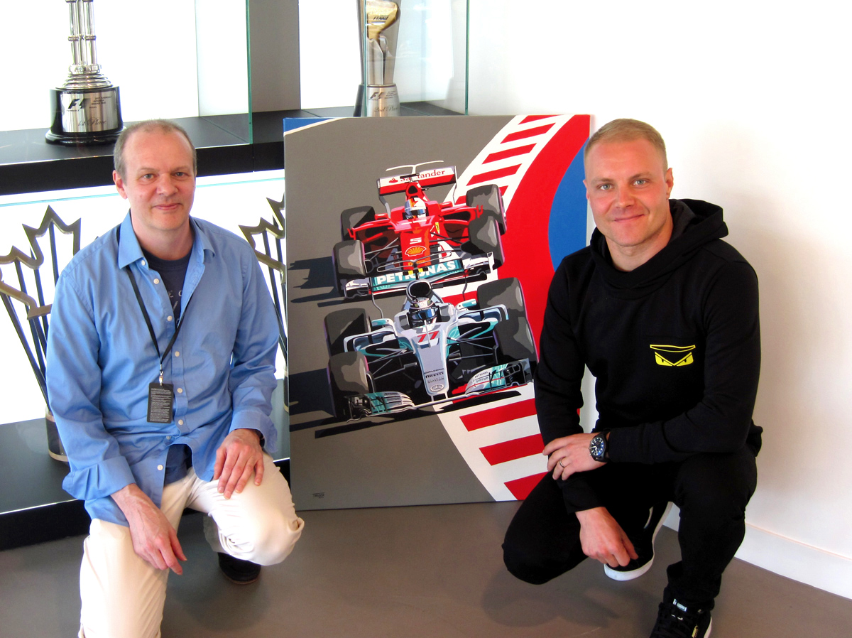 Simon Taylor & Valtteri Bottas with Simon's painting of Valtteri's first victory