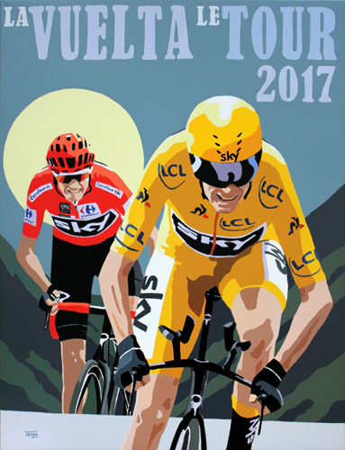 Froome Tour Double, painting by Simon Taylor