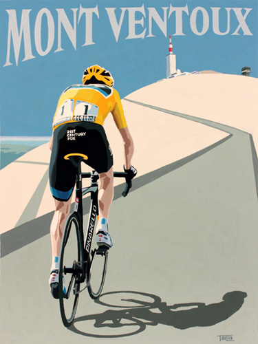 Froome on Mont  Ventoux painting by Simon Taylor