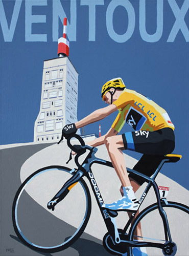 Froome on Ventoux, painting by Simon Taylor