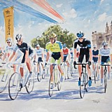 Stage 1 Tour de France 2014, the Grand Depart, watercolour sketch A3 approx. by Simon Taylor