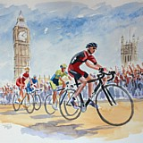 Stage 3 Tour de France 2014, London, watercolour sketch A3 approx. by Simon Taylor