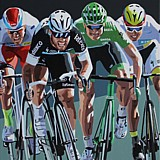 Mark Cavendish 26th Tour de France Stage Win painting on canvas by Simon Taylor