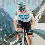 Finestre, gouache on paper 36 x 48cm by Simon Taylor - Private Commission for Chris Froome
