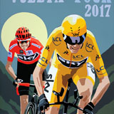 Chris Froome's Tour Double 2017 painting on canvas by Simon Taylor