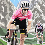 Giro Hero, Simon Yates at the Giro, painting on paper 46 x 58cm by Simon Taylor