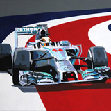 Lewis Hamilton Mercedes painting on canvas by Simon Taylor