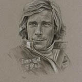 James Hunt - Black & White Chalk on Paper approx A3 by Simon Taylor