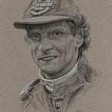 Niki Lauda - Black & White Chalk on Paper approx A3 by Simon Taylor
