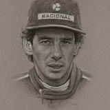 Ayrton Senna - Black & White Chalk on Paper approx A3 by Simon Taylor