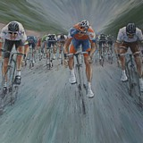Stage 18, Tour de France 2012, Cav beats Luis Leon Sanchez and Nicholas Roche. Acrylic on Canvas 40 x 30 inches