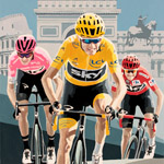 Froomey's Tour Triple, gouache on paper 36 x 48cm by Simon Taylor - Private Commission for Chris Froome