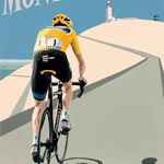Ventoux, gouache on paper 36 x 48cm by Simon Taylor - Private Commission for Chris Froome
