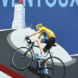 Chris Froome on Mont Ventoux painting on canvas by Simon Taylor