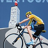 Chris Froome Mont Ventoux painting on canvas by Simon Taylor