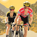 La Vuelta 2018, gouache on paper 36 x 48cm by Simon Taylor - £750.00