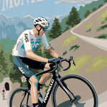 Zoncolan, gouache on paper 36 x 48cm by Simon Taylor - Private Commission for Chris Froome