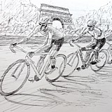Tour de France 2012, Wiggins leads Cavendish and Sagan past the Arc de Triumphe. Preparatory sketch by Simon Taylor
